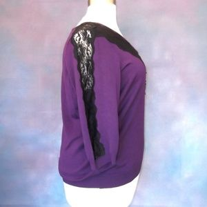 Lane Bryant Sweaters - Lane Bryant Purple Black Lace Sweater 22/24